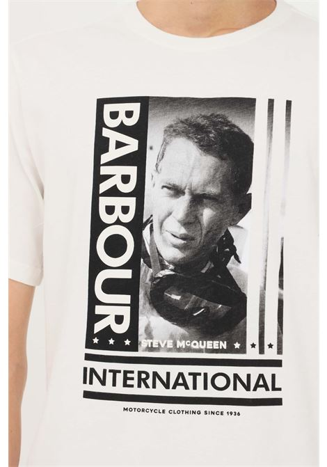 T-shirt uomo bianco barbour a manica corta con stampa sul fronte BARbour INTERNATIONAL | T-shirt | 212-MTS0864 MTSWH32