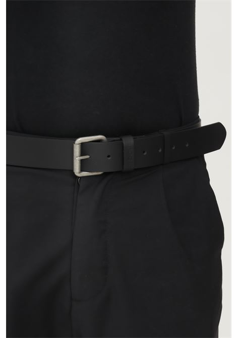 Black men's belt by barbour with silver buckle BARbour | Belt | 212-MAC0111 MACBK31