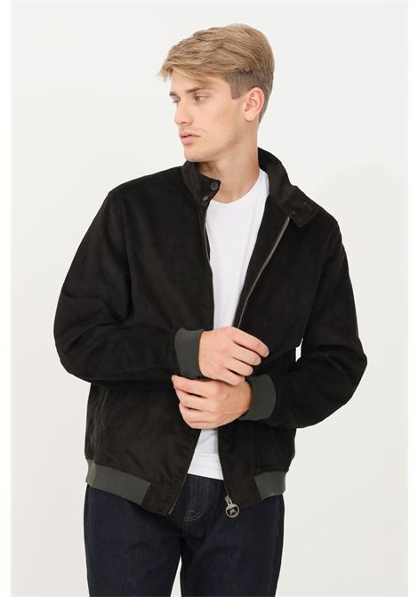 Black men's jacket by barbour with french collar BARbour | Jacket | 212-MCA0746 MCAOL72