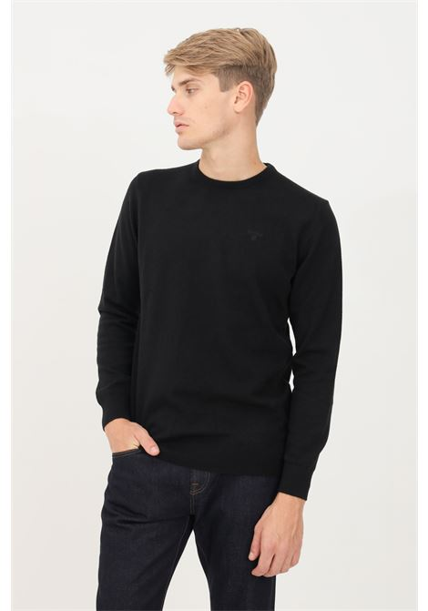 Black men's sweater by barbour crew neck model with tone on tone logo BARbour | Knitwear | 212-MKN0345 MKNBK31