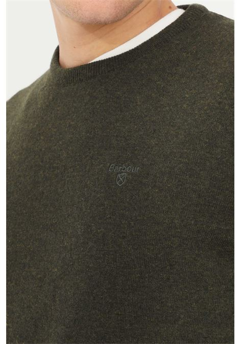 Green men's sweater by barbour crew neck model with tone on tone logo   BARbour | Knitwear | 212-MKN0345 MKNGN71