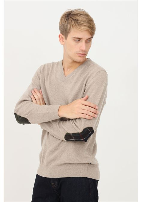 Stone men's sweater by barbour with patches on the sleeves BARbour | Knitwear | 212-MKN0767 MKNST51