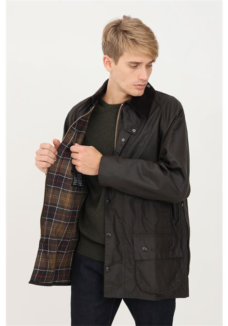 Green men's bomber jacket by barbour with zip and press studs closure BARbour | Blazer | 212-MWX0002 MWXOL71