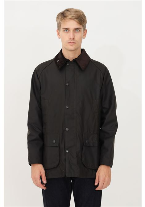 Green men's jacket by barbour with ribbed collar and full zip BARbour | Blazer | 212-MWX0010 MWXOL71