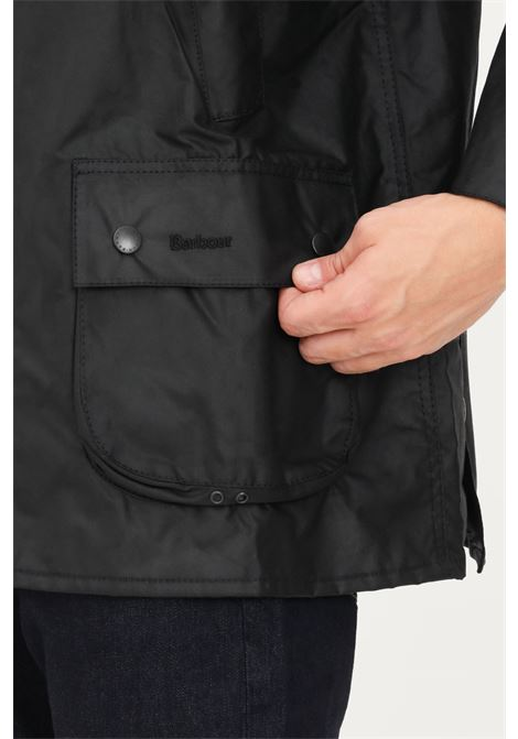 Black men's jacket by barbour with ribbed collar BARbour | Jacket | 212-MWX0018 MWXBK91