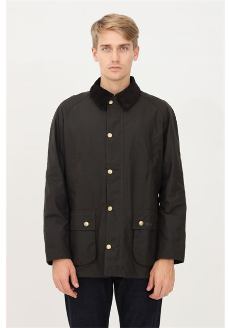 Green men's bomber jacket by barbour, closure with zip and buttons BARbour | Blazer | 212-MWX0339 MWXOL71