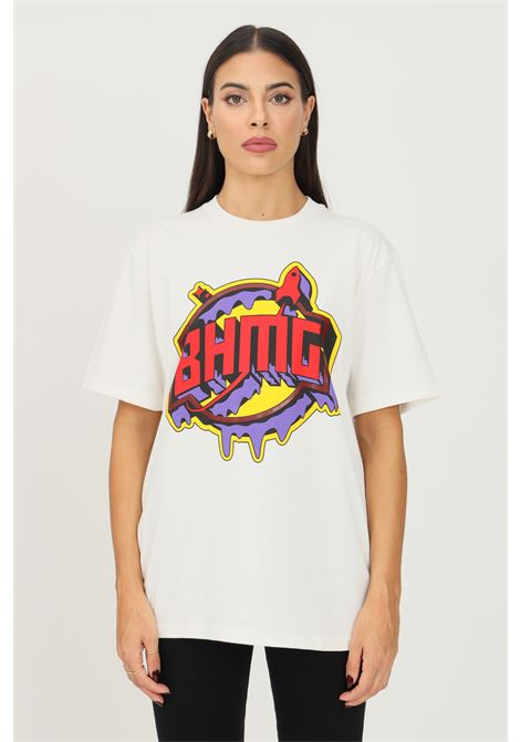 White unisex t-shirt by bhmg with maxi print on the front, short sleeve BHMG | T-shirt | 031251002
