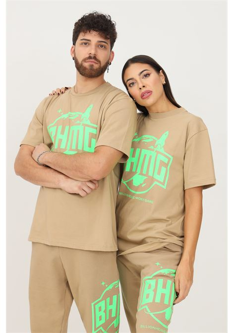 Beige unisex t-shirt by bhmg with contrasting print on the front, short sleeve BHMG | T-shirt | 031272110