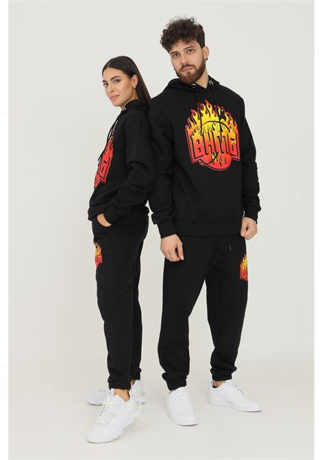 Black unisex trousers by bhmg, casual model with flame logo print BHMG | Pants | 031325110