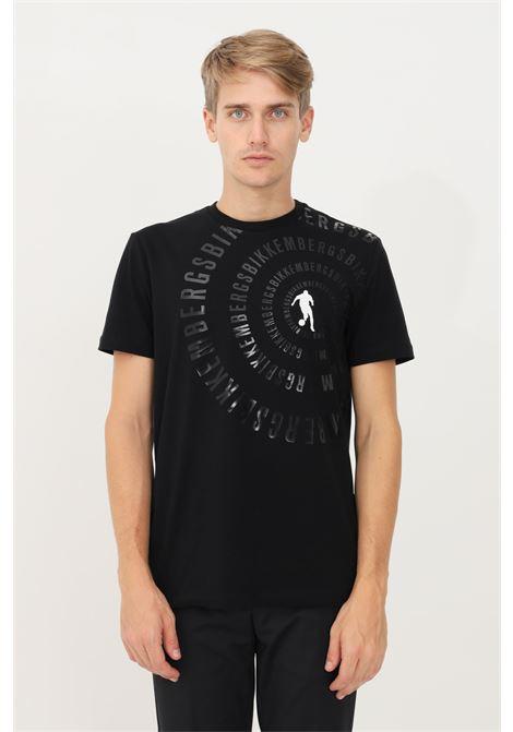 T-shirt uomo nero bikkembergs a manica corta con stampa lucida BIKKEMBERGS | T-shirt | C410152E2296C74