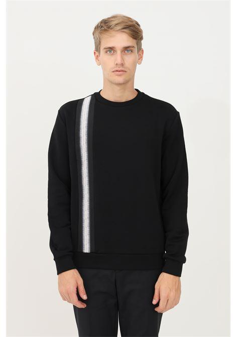 Felpa uomo nero bikkembergs con banda verticale BIKKEMBERGS | Felpe | C621980E2293C74