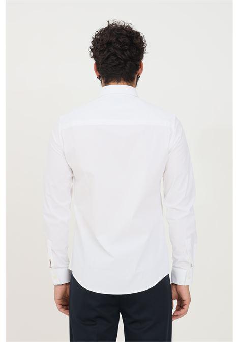 Camicia uomo bianco bikkembergs modello casual con banda logata BIKKEMBERGS | Camicie | CC09581S2931A00