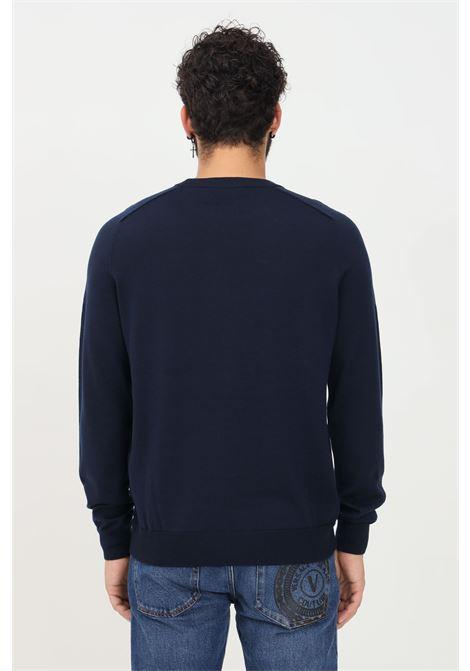 Maglioncino uomo blu bikkembergs con stampa logo frontale BIKKEMBERGS | Maglieria | CS17G10X1376Y99