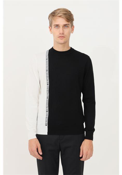 Maglioncino uomo nero bianco bikkembergs in jacquard girocollo BIKKEMBERGS | Maglieria | CS23G90X11484027