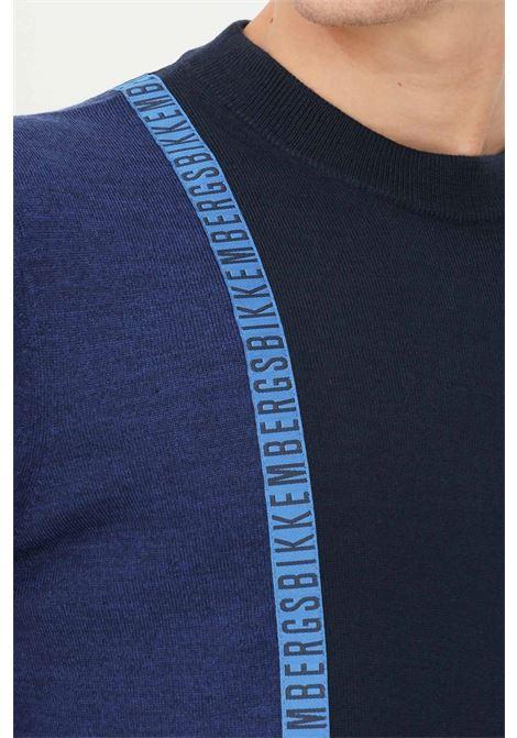 Maglioncino uomo blu bikkembergs in jacquard girocollo BIKKEMBERGS | Maglieria | CS23G90X11484042