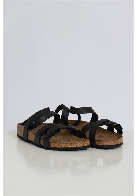 Ciabatta donna nero birkenstock con cinturino alla caviglia e bande regolabili BIRKENSTOCK | Sandali | 1015840BLACK