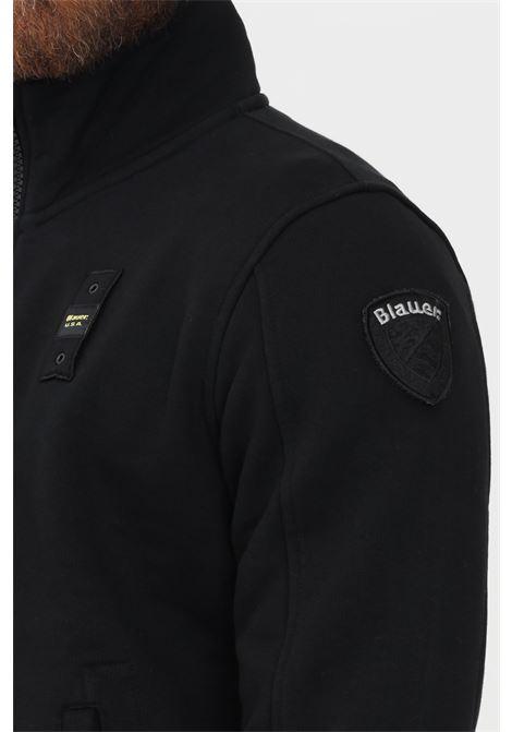 Felpa uomo nero blauer con zip e applicazione logo laterale BLAUER | Felpe | 21WBLUF01291005787999