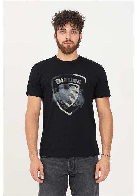 T-shirt uomo nero blauer a manica corta con logo frontale e inserti in rilievo BLAUER | T-shirt | 21WBLUH02289004547999