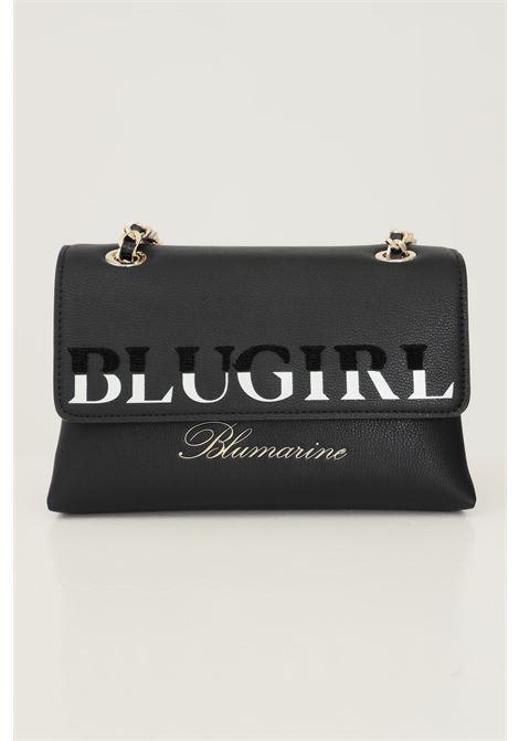 Black women's bag by blumarine with fabric and chain shoulder strap Blumarine | Bag | 713B4BD4ZG048899