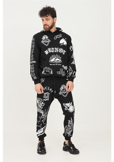 Pantaloni uomo nero but not casual con stampe allover a contrasto BUT NOT | Pantaloni | U9498-330NERO