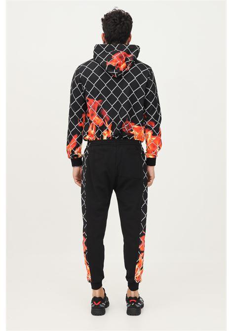 Pantaloni uomo nero but not modello casual con bande stampa rete e fiamme BUT NOT | Pantaloni | U9664NERO