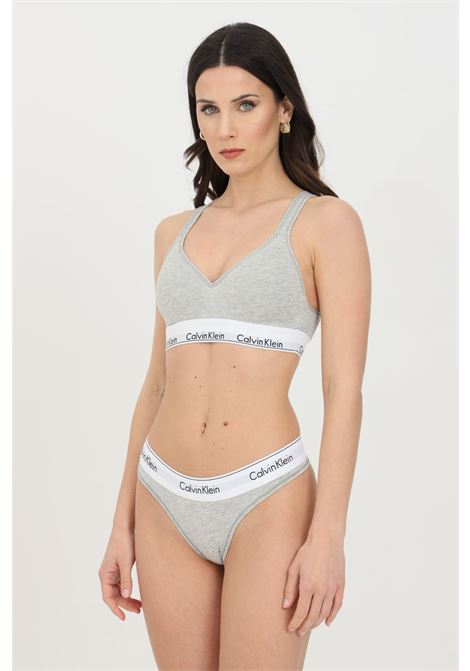Grey bralette in solid color with elastic waistband with logo. Calvin klein CALVIN KLEIN | Bralette | 000QF1654E020