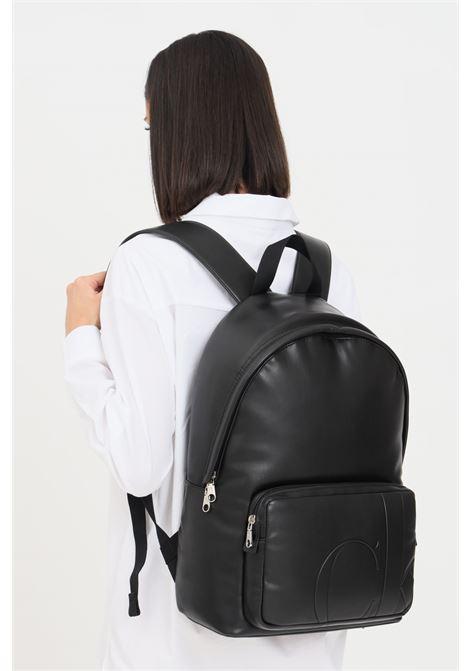 Black unisex backpack by calvin klein with embossed logo CALVIN KLEIN | Backpack | K50K506951BDS