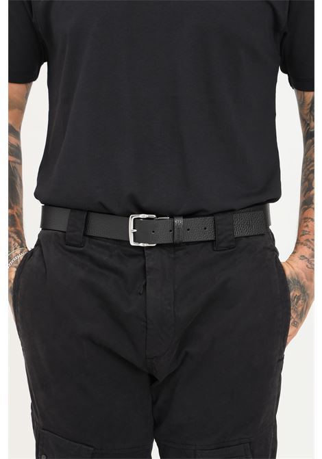 Black men's belt by calvin klein with silver buckle CALVIN KLEIN | Belt | K50K5070630GQ