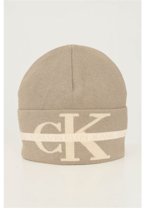 Beige unisex hat by calvin klein with maxi logo on the front CALVIN KLEIN | Hat | K50K507181PBF