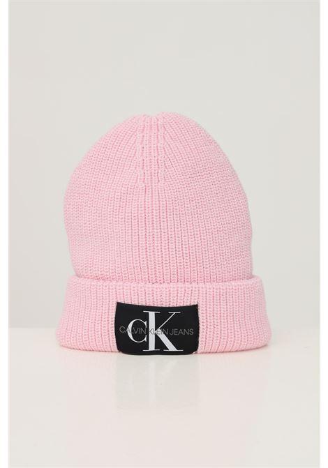 Pink unisex hat by calvin klein with fabric logo application CALVIN KLEIN | Hat | K60K607383TA9