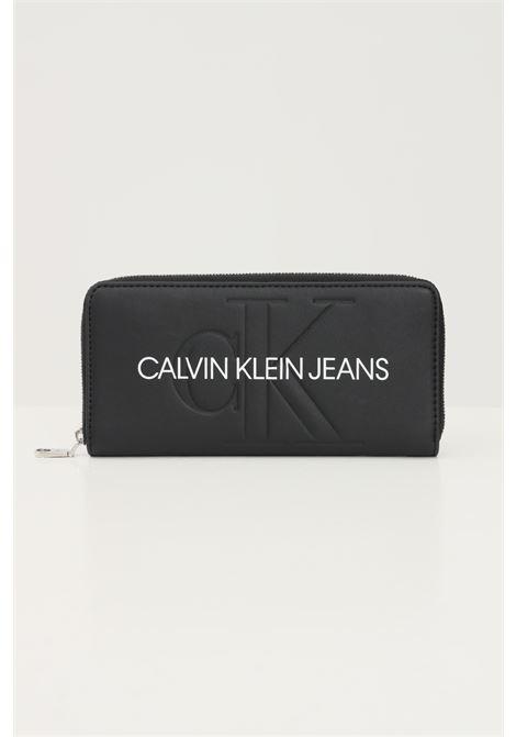 Portafogli donna nero calvin klein con logo frontale CALVIN KLEIN | Portafogli | K60K607634BDS