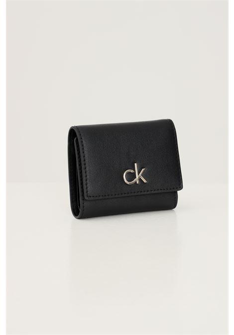 Black women's lock trifold wallet by calvin klein CALVIN KLEIN | Wallet | K60K608456BAX
