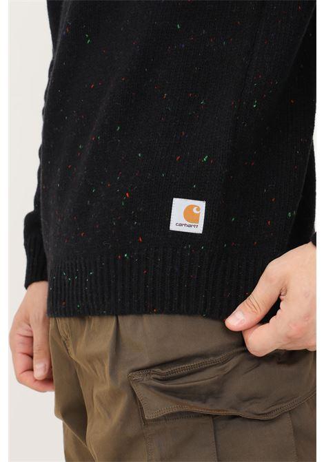 Maglione uomo nero carhartt con dettagli multicolor CARHARTT | Maglieria | I010977.030JE.XX