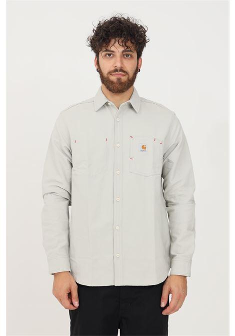 Camicia uomo grigio carhartt modello casual con toppa frontale CARHARTT | Camicie | I019762.030EY.01