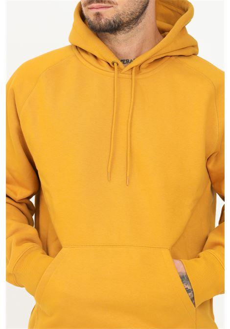 Mustard men's sweatshirt by carhartt with hood and pocket CARHARTT | Sweatshirt | I026384.030JN.XX