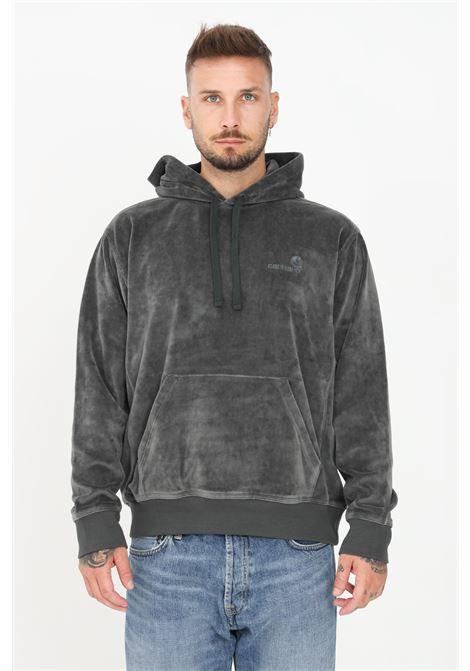 Green men's sweatshirt by carhartt with hood and maxi pocket  CARHARTT | Sweatshirt | I028276.03U1.XX