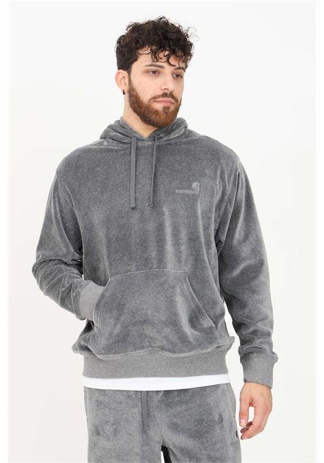 Grey men's sweatshirt by carhartt with hood and maxi pocket  CARHARTT | Sweatshirt | I028276.03ZM.XX