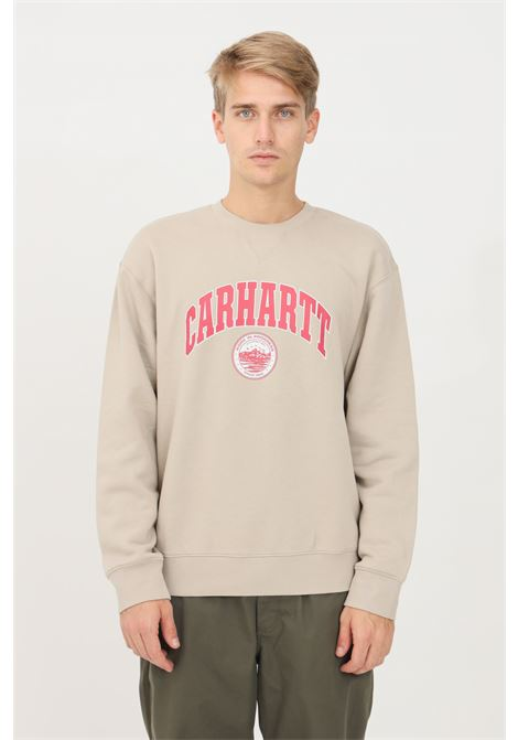 Felpa uomo beige carhartt a girocollo con stampa CARHARTT | Felpe | I029510.03G1.XX