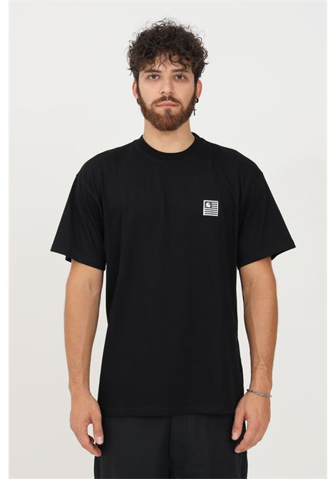 T-shirt uomo nero carhartt a manica corta con patch logo frontale CARHARTT | T-shirt | I029658.0389.XX