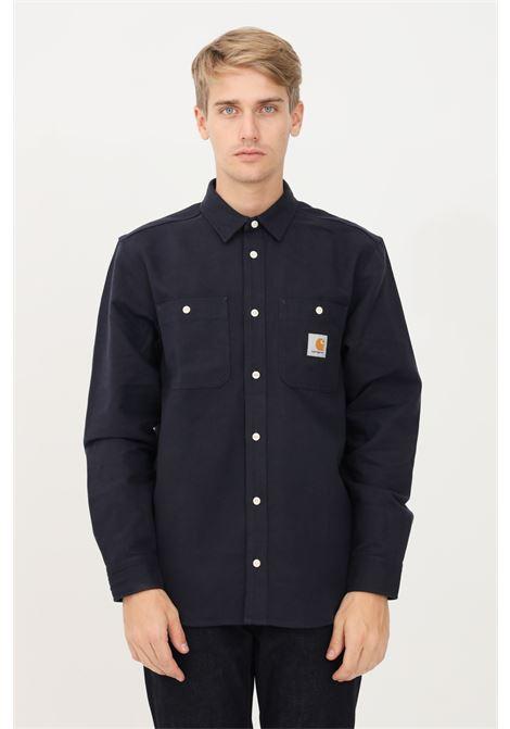 Camicia uomo blu carhartt casual in cotone pesante CARHARTT | Camicie | I029827.031C.01