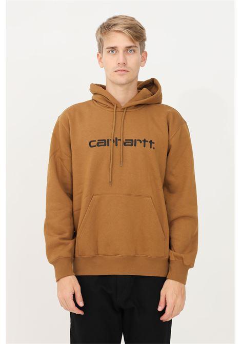 Felpa uomo marrone carhartt con cappuccio e logo sul fronte ricamato CARHARTT | Felpe | I030230.0308W.XX