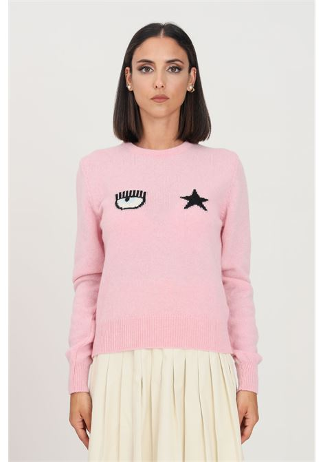 Pink women's sweater by chiara ferragni, crew neck model CHIARA FERRAGNI | Knitwear | 71CBFM01CMM00414