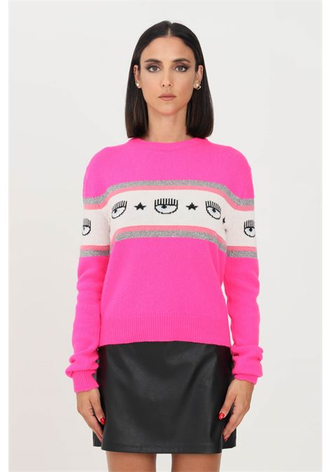 Pink women's sweater by chiara ferragni crew neck model CHIARA FERRAGNI | Knitwear | 71CBFM23CMP00437