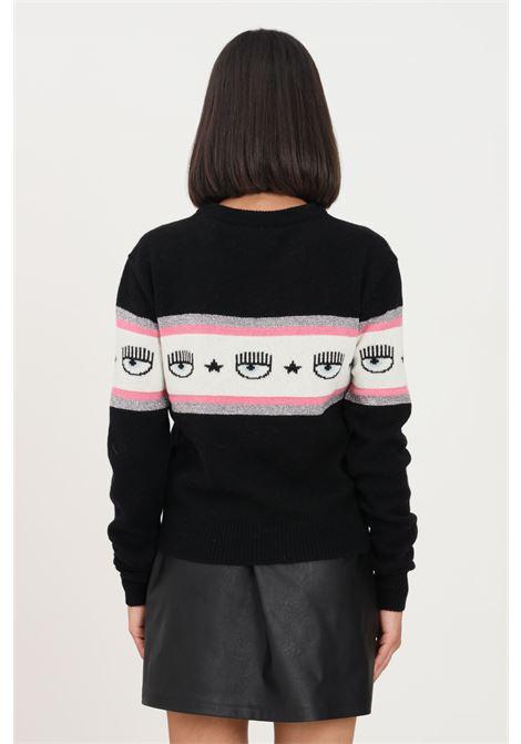 Black women's sweater by chiara ferragni crew neck model  CHIARA FERRAGNI | Knitwear | 71CBFM23CMP00899