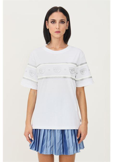 T-shirt donna bianco chiara ferragni a manica corta con banda logo in glitter silver CHIARA FERRAGNI | T-shirt | 71CBHT10CJC0T003