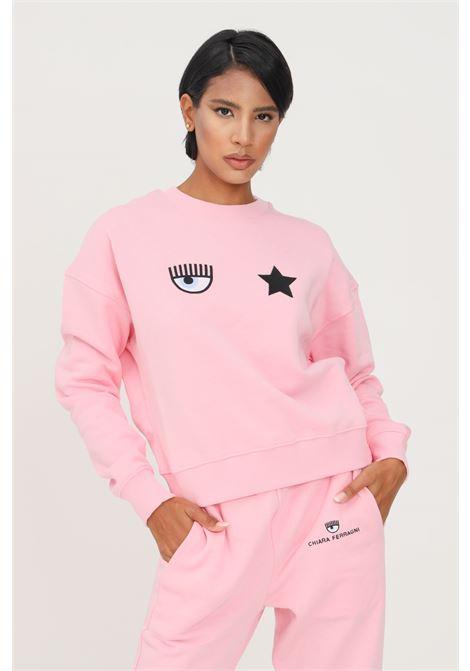 Pink sweatshirt by chiara ferragni crew neck model with inner pail CHIARA FERRAGNI | Sweatshirt | 71CBIT01CFC0T439