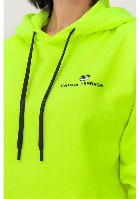 Felpa donna giallo fluo chiara ferragni con cappuccio CHIARA FERRAGNI | Felpe | 71CBIT08CFC1T156