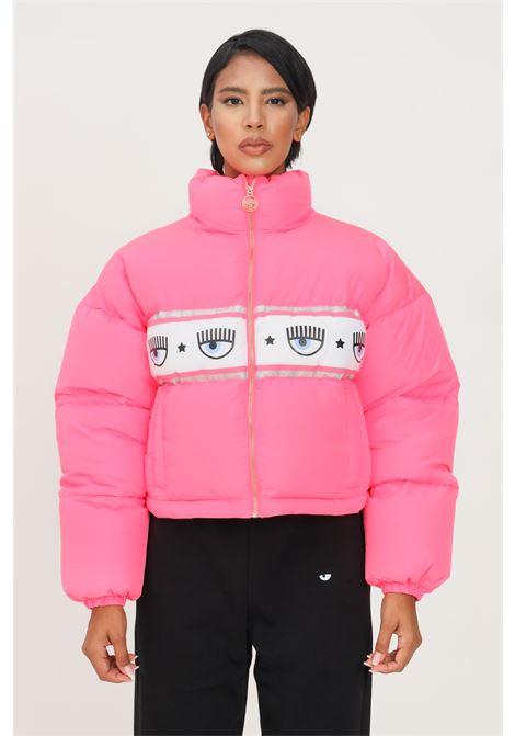 Fluo pink women's jacket by chiara ferragni with logo band CHIARA FERRAGNI | Jacket | 71CBU470CQS17437