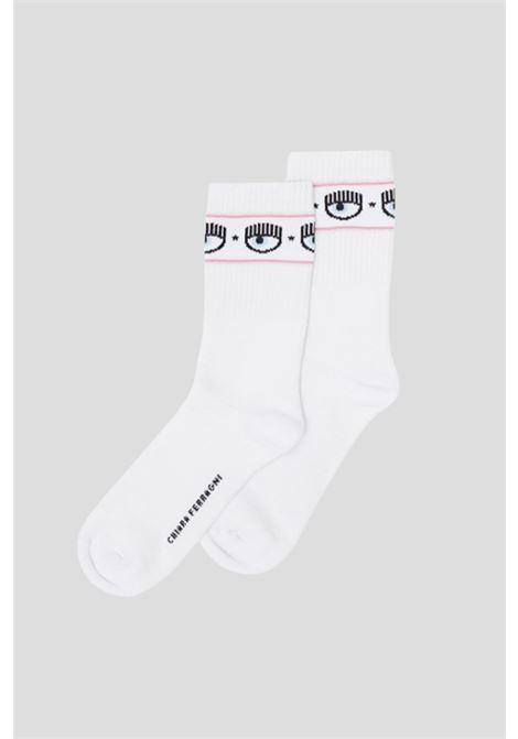 White women's socks by chiara ferragni with logo band CHIARA FERRAGNI | Socks | 71SB0J02ZG043003