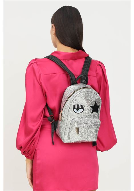 Silver women's backpack by chiara ferragni with logo application on the front CHIARA FERRAGNI | Backpack | 71SB4BO1ZS146900